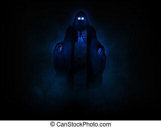 grim reaper - 3d illustration of a Grim reaper undead...