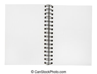 Notebook - Blank open notebook on a white background