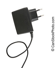 Charger - Mobile phone charger isolated over white...
