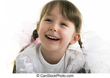 Photo of a little girl  -  Beautiful little girl laughing