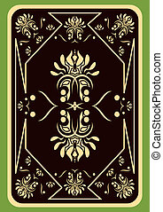 Playing card - The turned playing card on a green background...