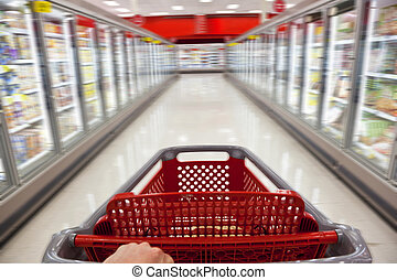 Fast Food Concept Motion Blur Shopping Trolley in...
