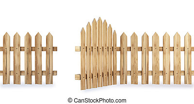 fence - wooden fence with a gate isolated on white including...