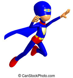 funny cartoon super hero 3D rendering with clipping path and...