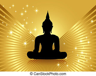 Buddha against golden background - Black buddha silhouette...