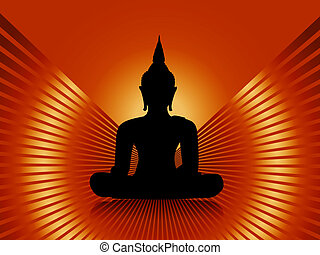Buddha with red rays background - Black buddha silhouette...