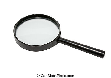 Magnifying Glass - Magnifying glass in hand over white...
