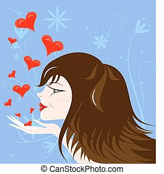 brown-haired girl - on an abstract blue background...