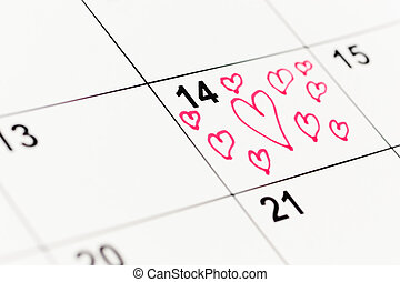 February 14th - StValentines Day concept, selective focus ,...