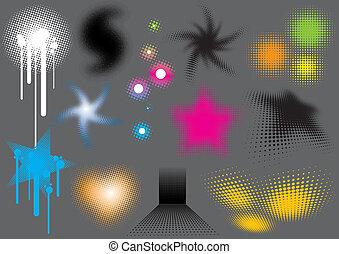 Fluorescent Swirls - Fluorescent swirls set, image is part...