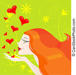 red-haired girl - on an abstract green background red-haired...