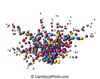 Total cmyk explosion - Cmyk colors atom nanoparticles...