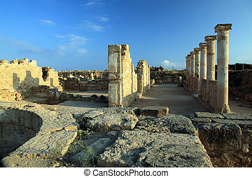 Ruins of ancient temple at Paphos, Cyprus. - Temple columns....