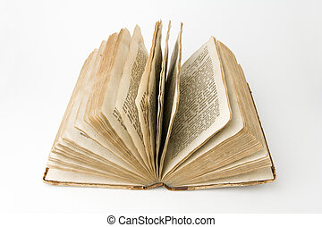 Antique Book - Open antique book on a white background