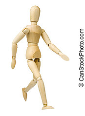 Walking - Wooden model dummy in walking position Isolated on...