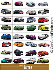 Big set of 32 kinds cars on the road. Eps 10 Vector...