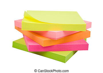 Sticky Notes - Stack of sticky notes isolated on a white...