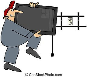 Man Installing Flatscreen TV - This illustration depicts a...