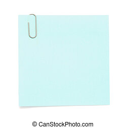 Blue paper note with paper clip on white background