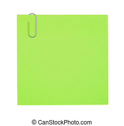 Green paper note with paper clip on white background
