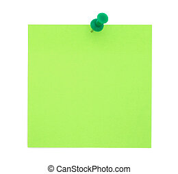 Green paper note with push pin