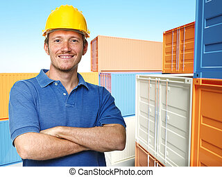 worker and 3d container background
