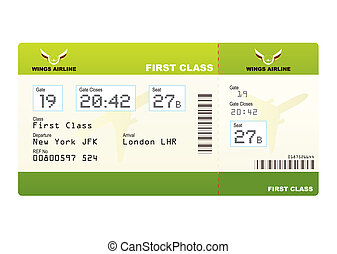 Plane ticket first class green travel with stub and gate...