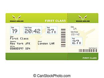 avión, boleto, primero, clase, verde