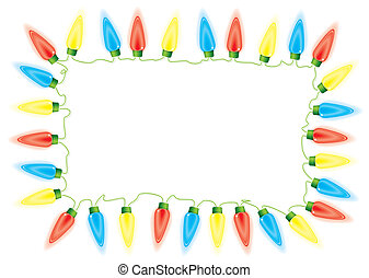 Christmas fairy lights - Bright fairy lights border or frame...