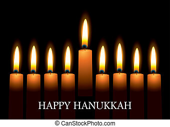 Hanukkah candles - Hanukkah nine candles with burning flames...