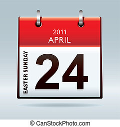 Easter Sunday calendar icon with red banner and blue...