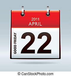 Good Friday calendar icon with red banner and blue...