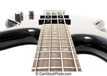 black bass guitar with strained strings - black shiny...