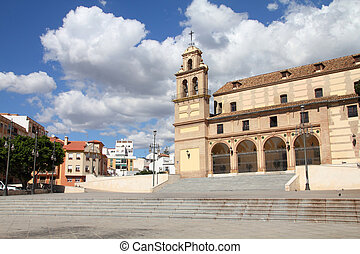 Malaga in Andalusia, Spain. Santuario square - old religious...