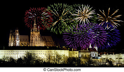Prague castleand New Year celebrations - Prague castle in...