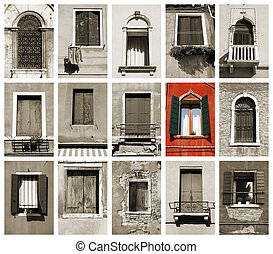 Windows of Venice, Italy. Old architecture. One prominent...