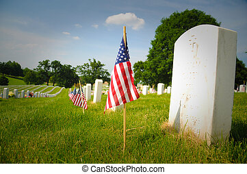 Memorial Day - American flags are placed at each grave site...