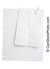 Notepad Paper Sheets - Sheets of paper with paperclip...