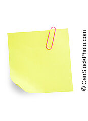 Sticky Note with Paperclip - Yellow sticky note attached...