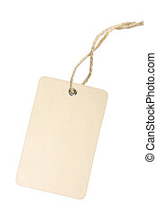 Blank Tag Label - Blank white tag with cotton string...