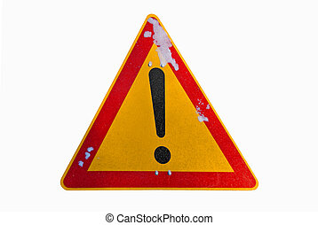 Exclamation Warning Sign - A warning traffic sign with an...