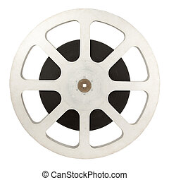 Film reel (16 mm) isolated on white background