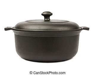 Pot - Iron pot isolated on white background