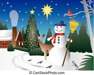 Snowman in Christmas scene - Colorful illustration of...