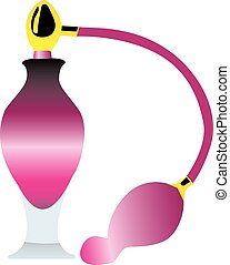 An illustration of a pink perfume bottle
