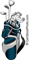 Golf Clubs in Bag - Illustration of a set of gold clubs in a...
