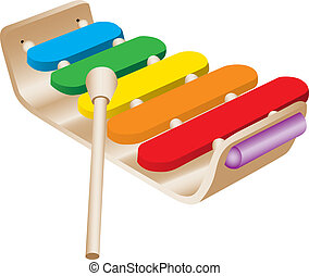Childs Toy Xylophone isolated against a white background