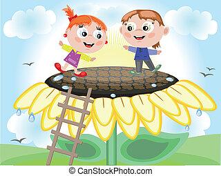 Children and sunflower