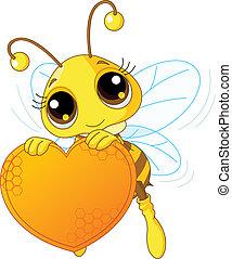 CÙte, abelha, segurando, doce, Coração