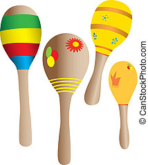 Four Maracas isolated against a white background